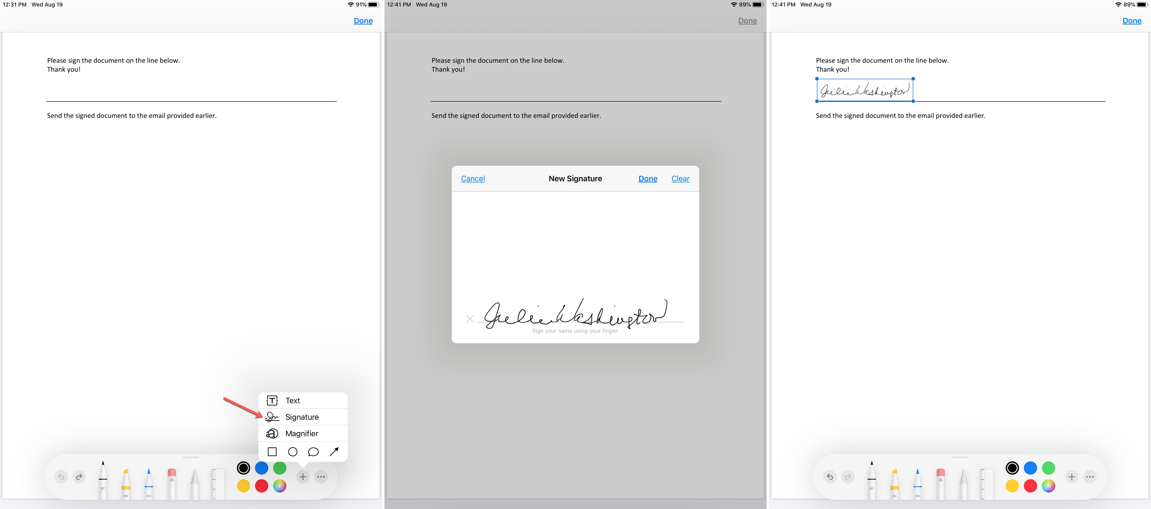Sign Email Attachment Markup on iPad