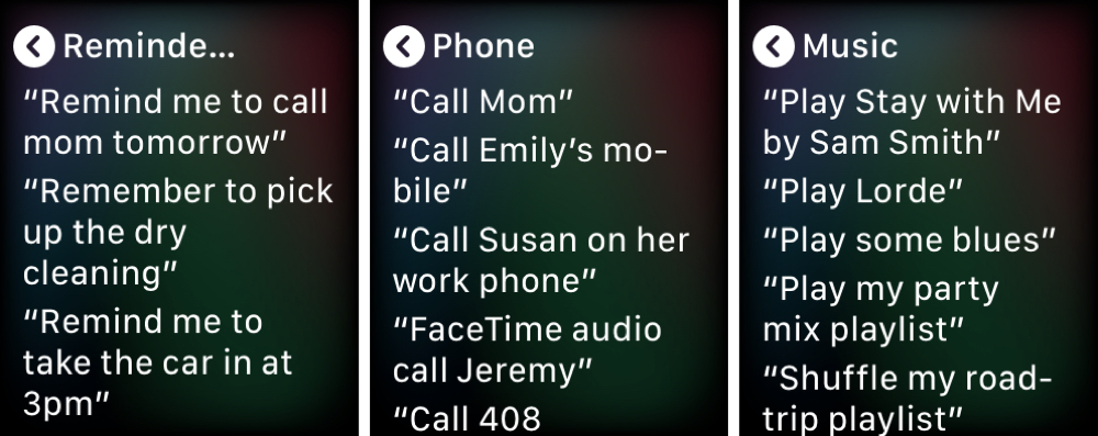 Siri Reminders Phone Music Apple Watch