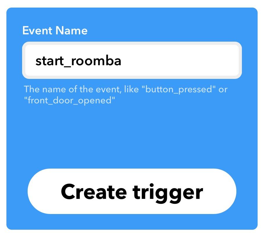 Start Roomba trigger