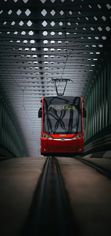 Red streetcar on a dark background by Alexander Z