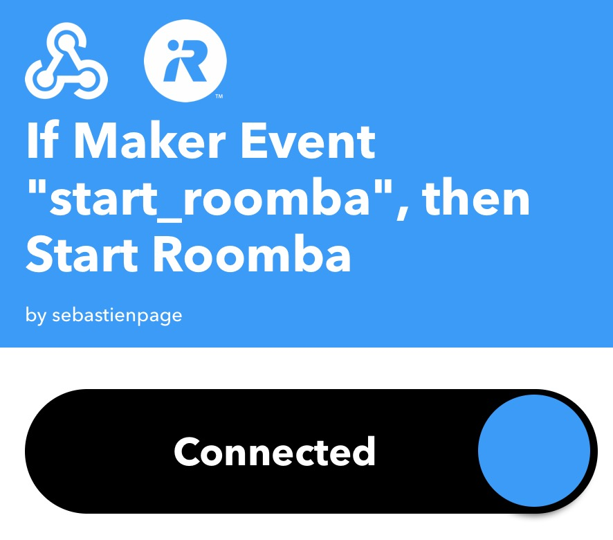 Trigger and action for controlling Roomba with Siri