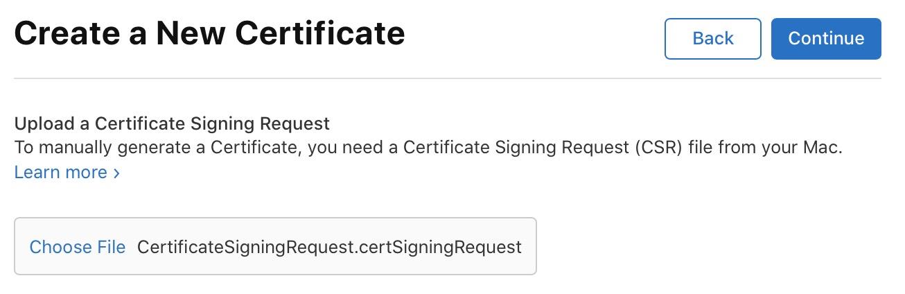Upload the CertificateSigningRequest file