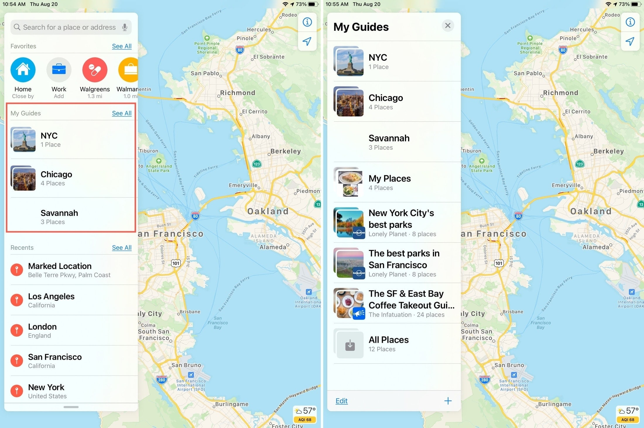 View Saved Guides Maps iPad
