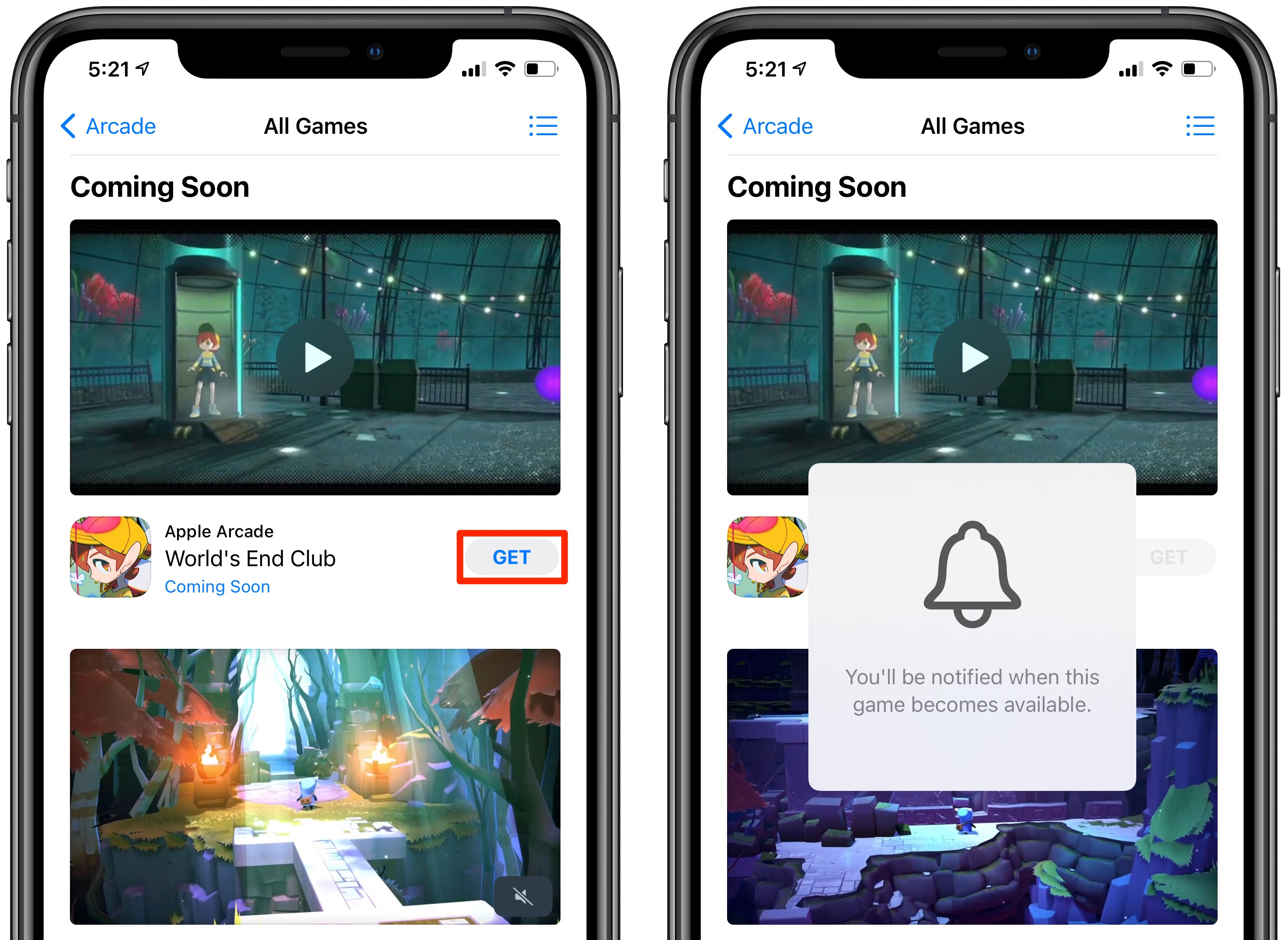 Upcoming Apple Arcade games - a message say gin the user will be notified when the game becomes available
