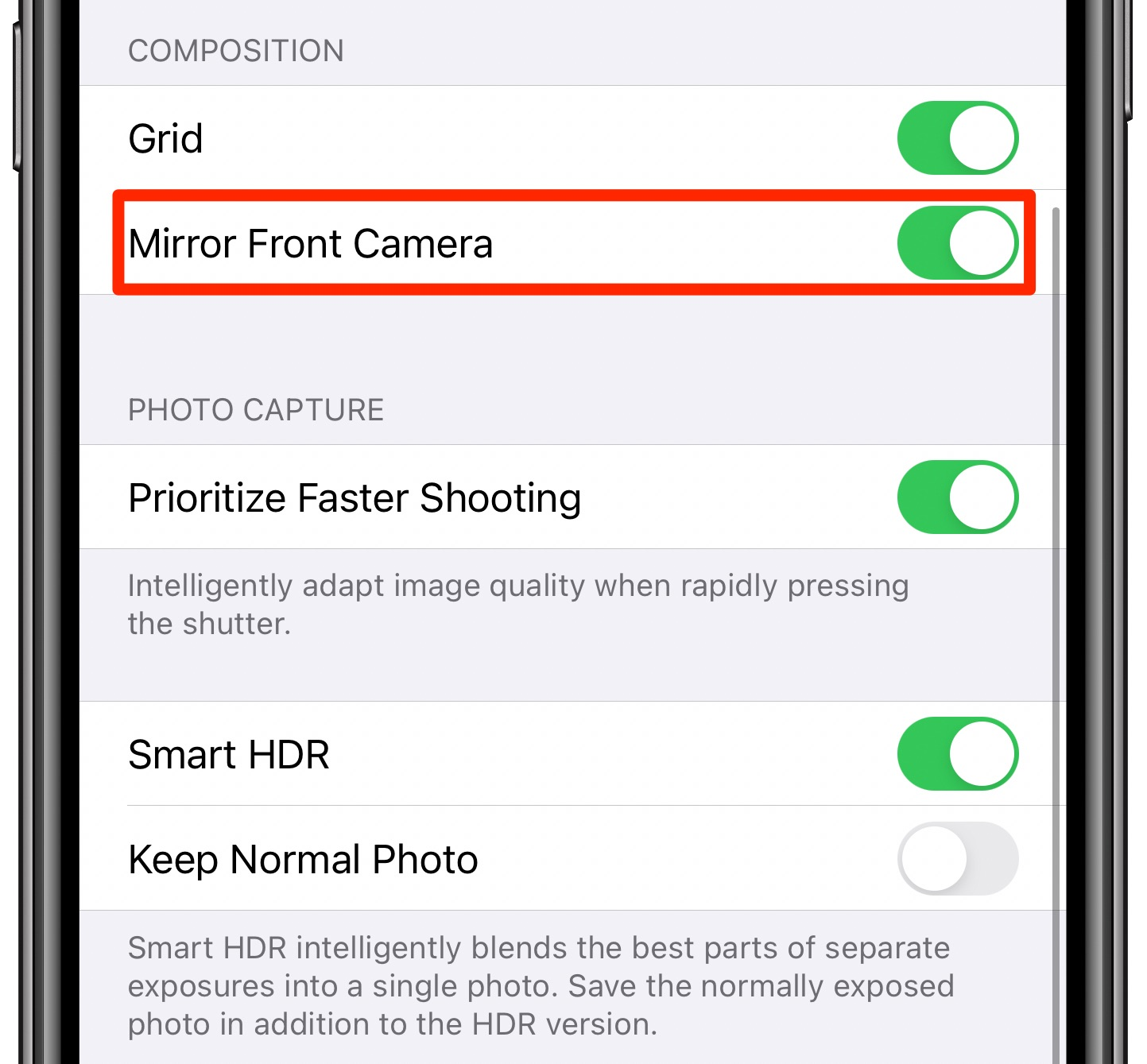 iPhone camera settings with the Mirror Front Camera option enabled