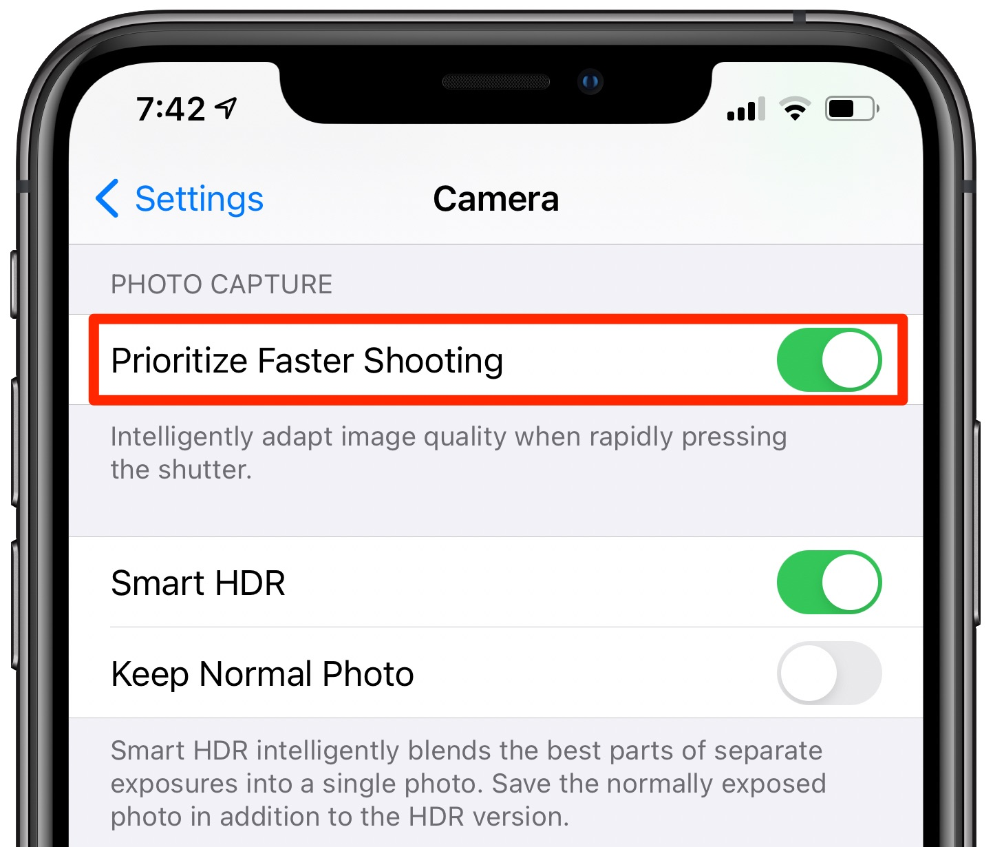 iPhone camera - the Prioritize Faster Shooting option enabled in Settings