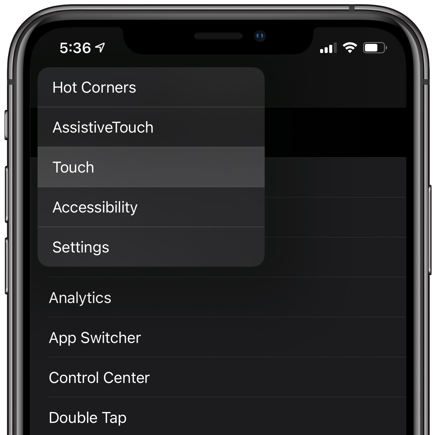 iPhone Settings navigation menu in Dark Mode