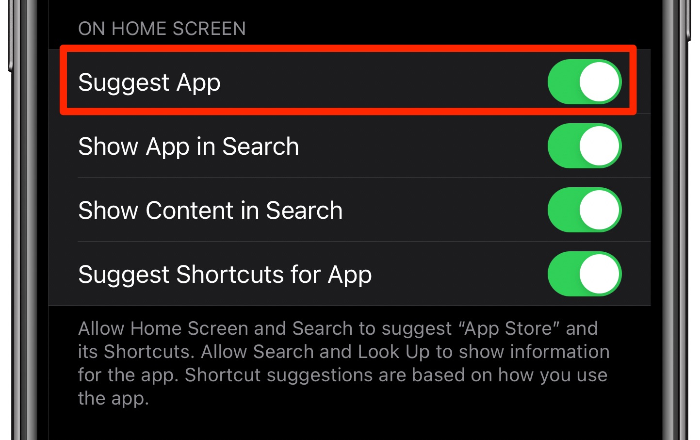 Siri Suggestions widget - enabling the Suggest App option for App Store in Siri & Search settings