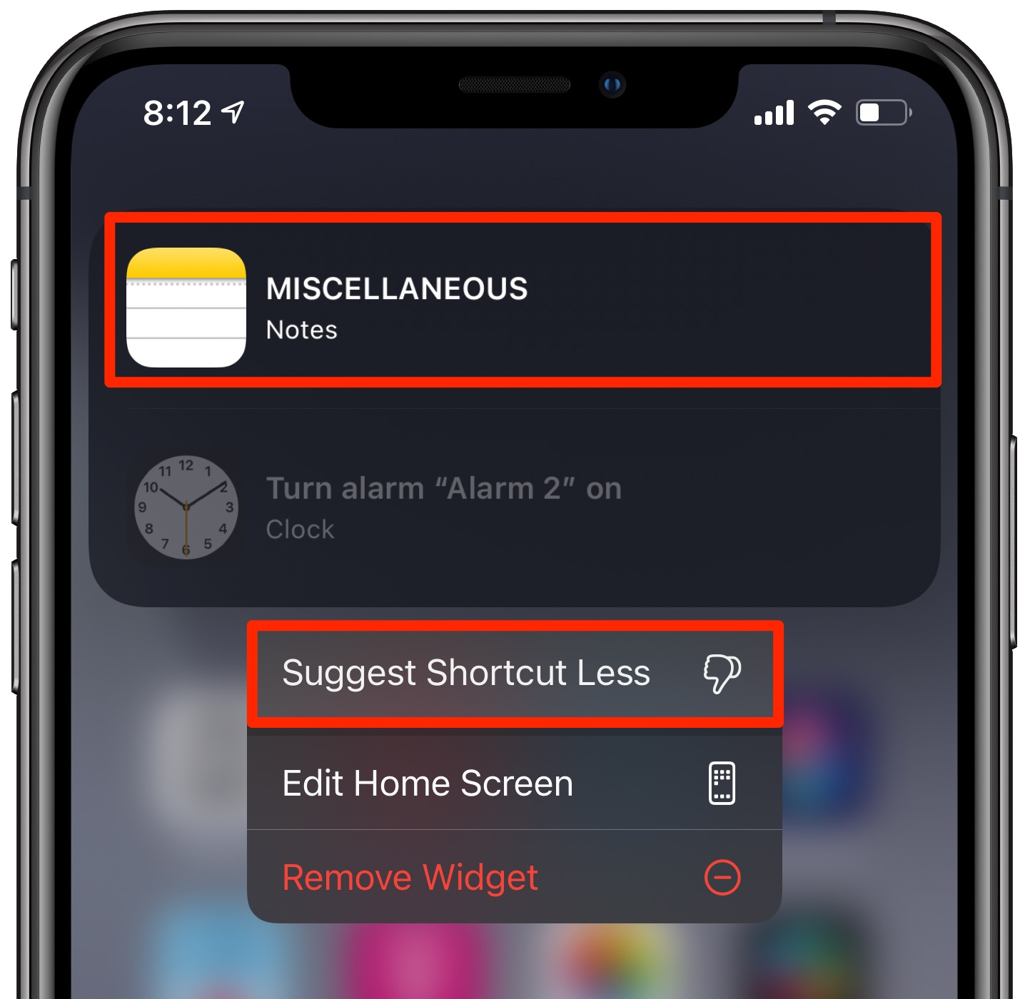 Suggesting the Notes shortcuts less on the Home screen