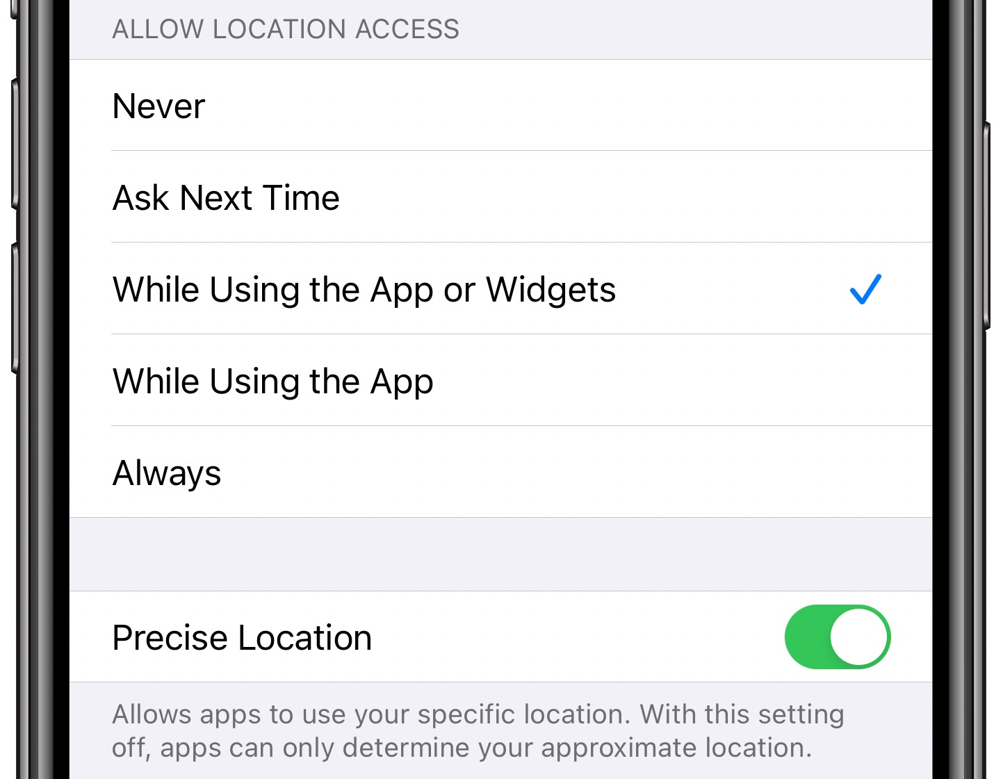 Widget location permissions iPhone - Using Privacy settings to manage a widget's location permission