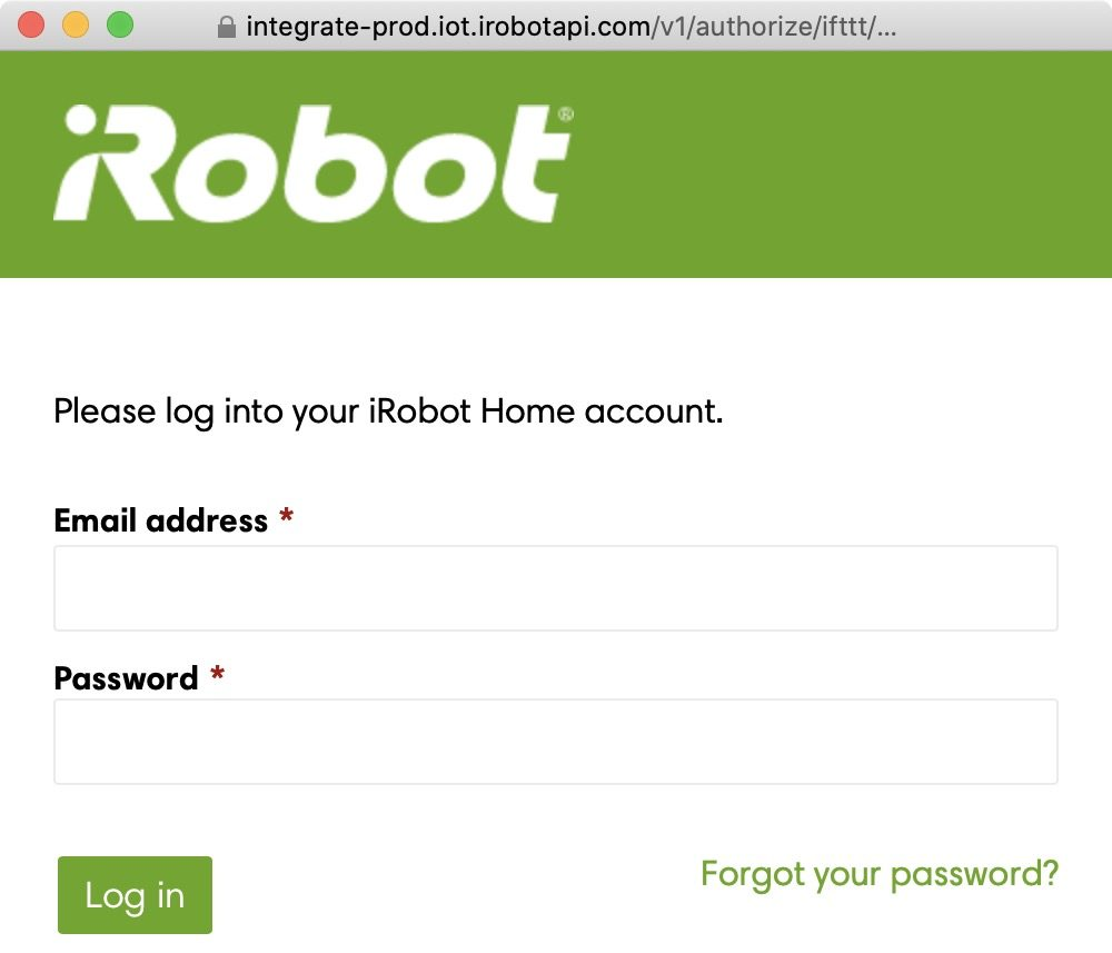log into your iRobot Home account