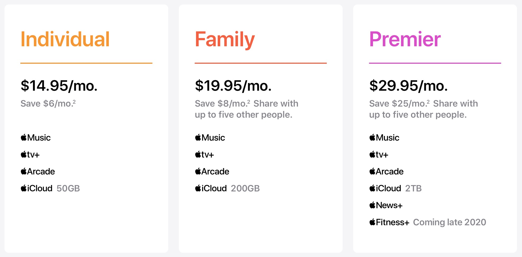 Apple One subscription bundle plans - pricing