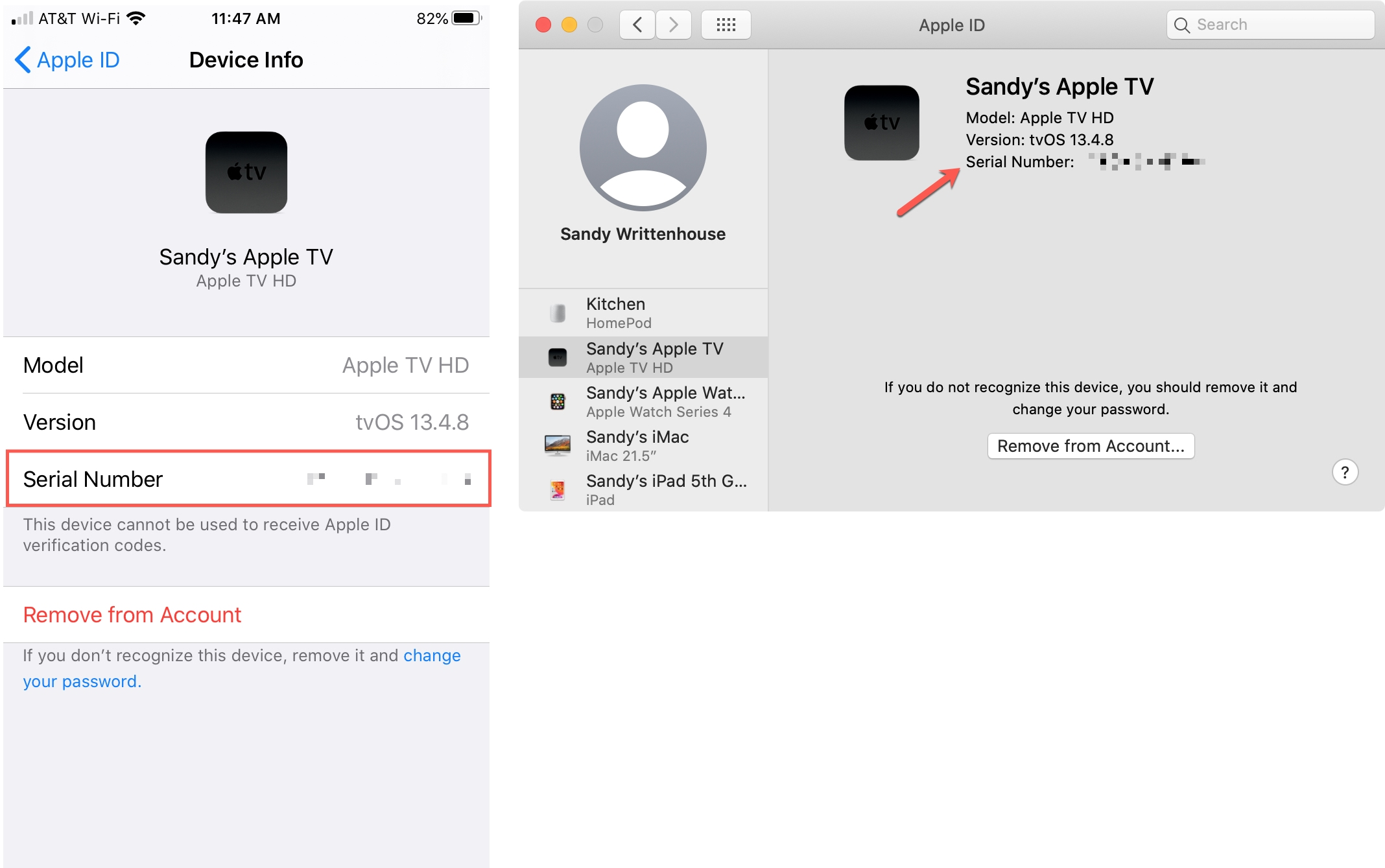 Apple TV Serial Number on iPhone and Mac