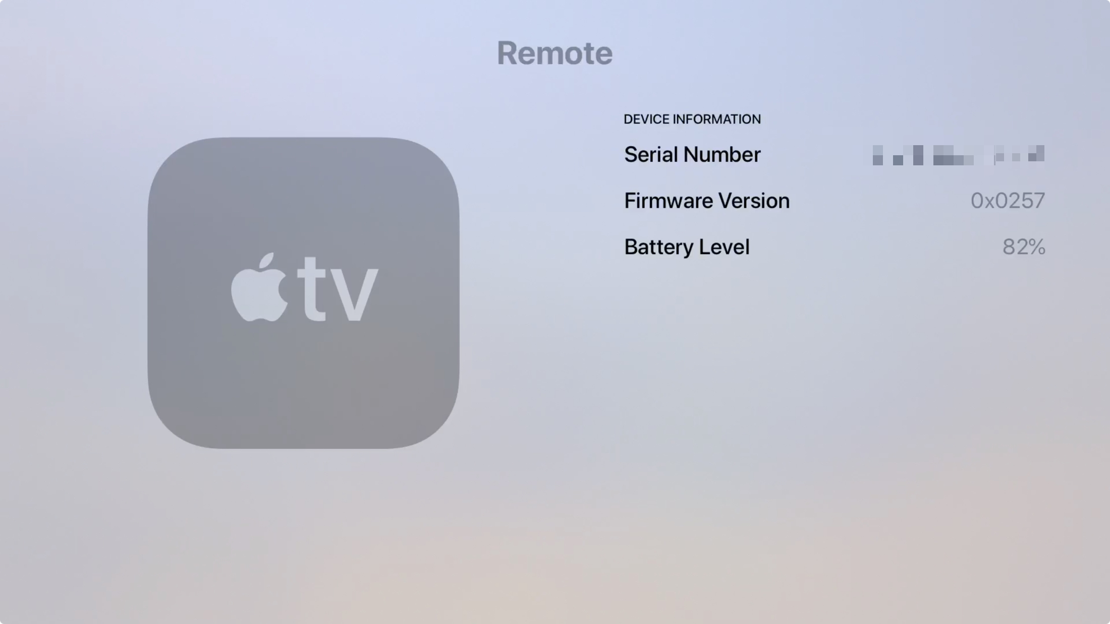 Apple TV Siri Remote Serial Number in Remotes and Devices in Settings