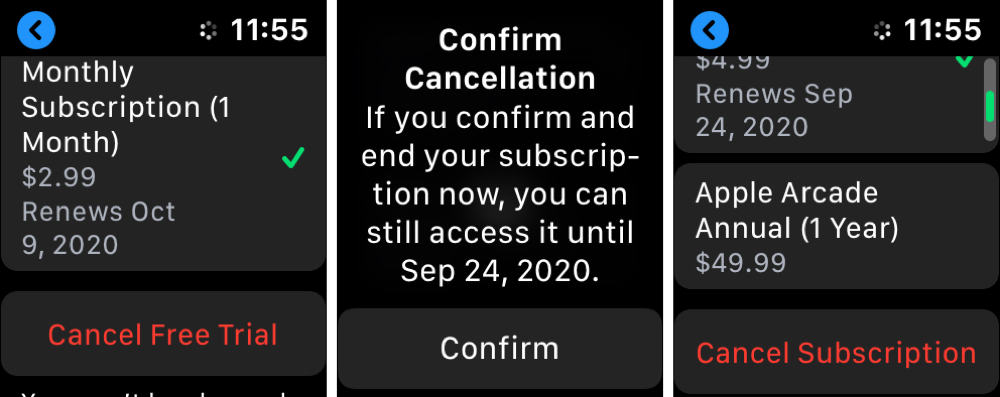 Apple Watch App Store Cancel Subscriptions