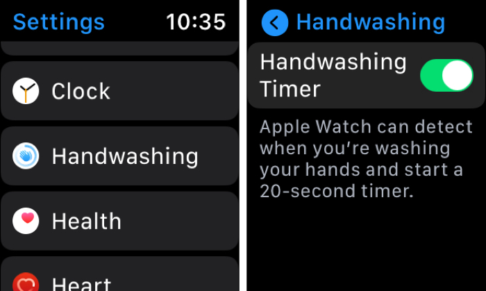 Apple Watch Handwashing Timer on Watch