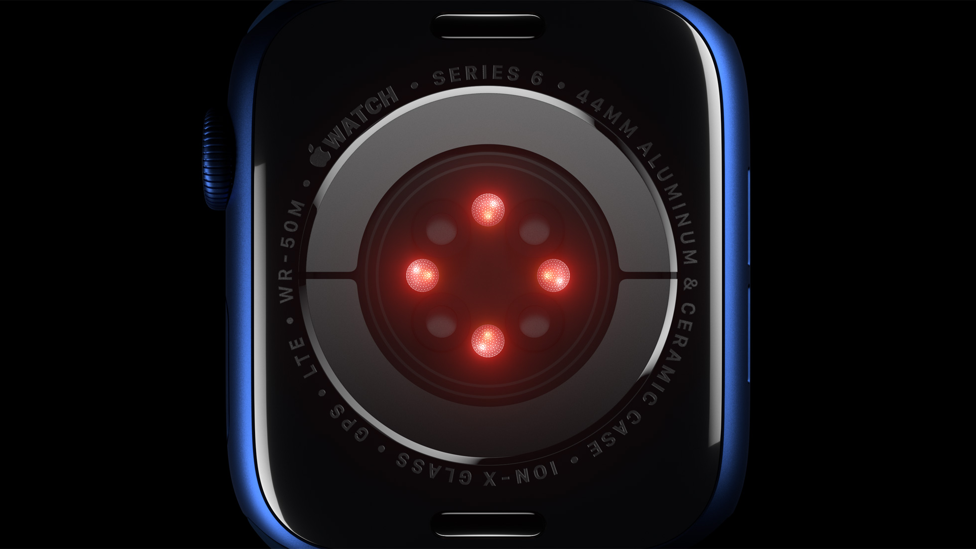 Promotional graphics showing the back crystal of Apple Watch Series 6 with health sensors