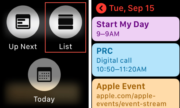 Enable the Calendar List View on Apple Watch