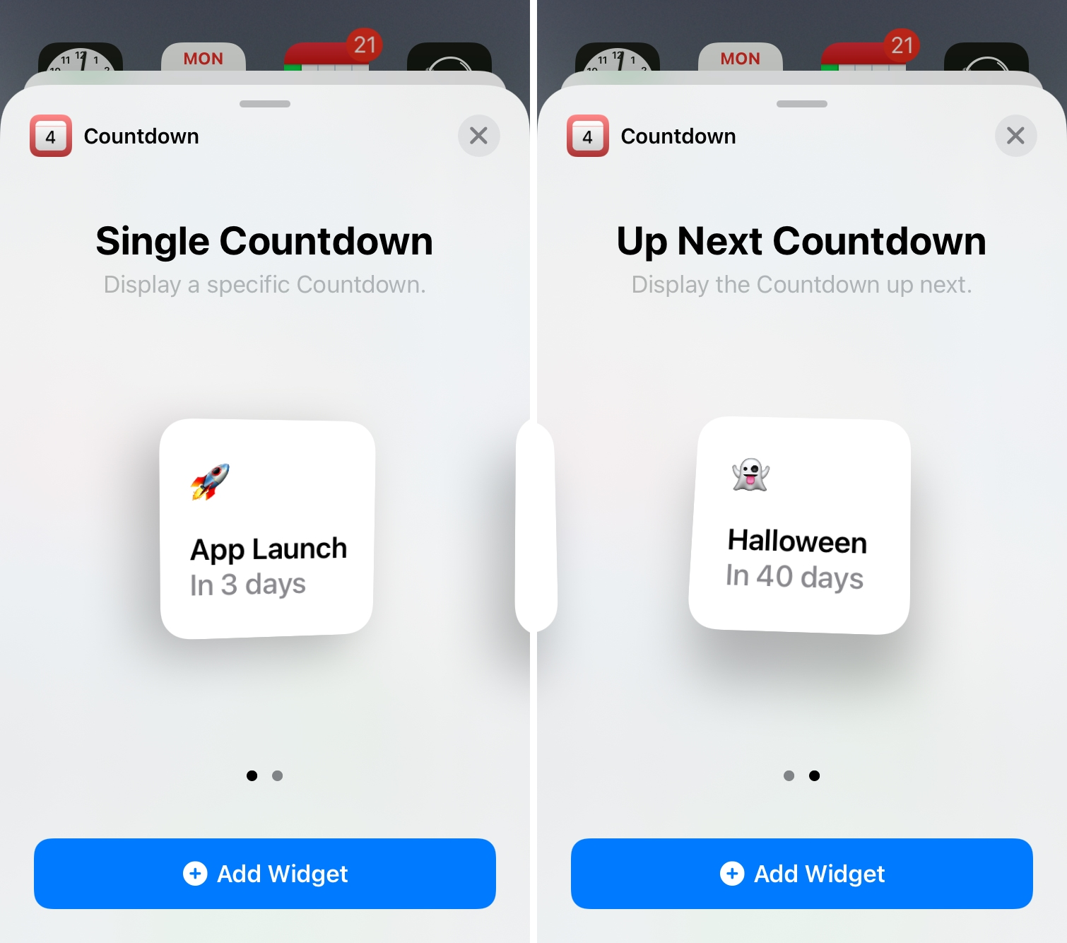 Countdown Home Screen Widgets for iPhone