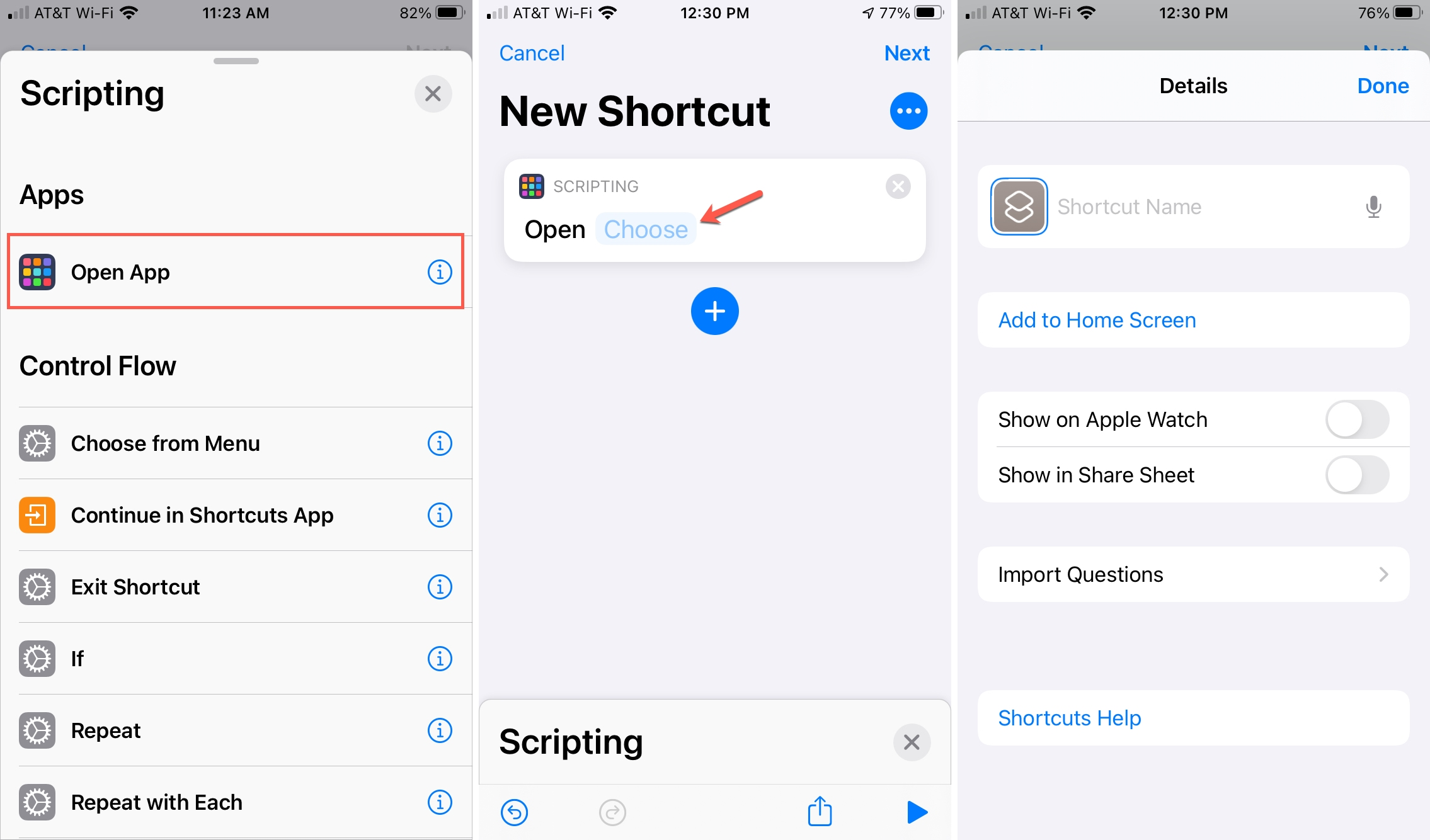 Create Shortcut Open App