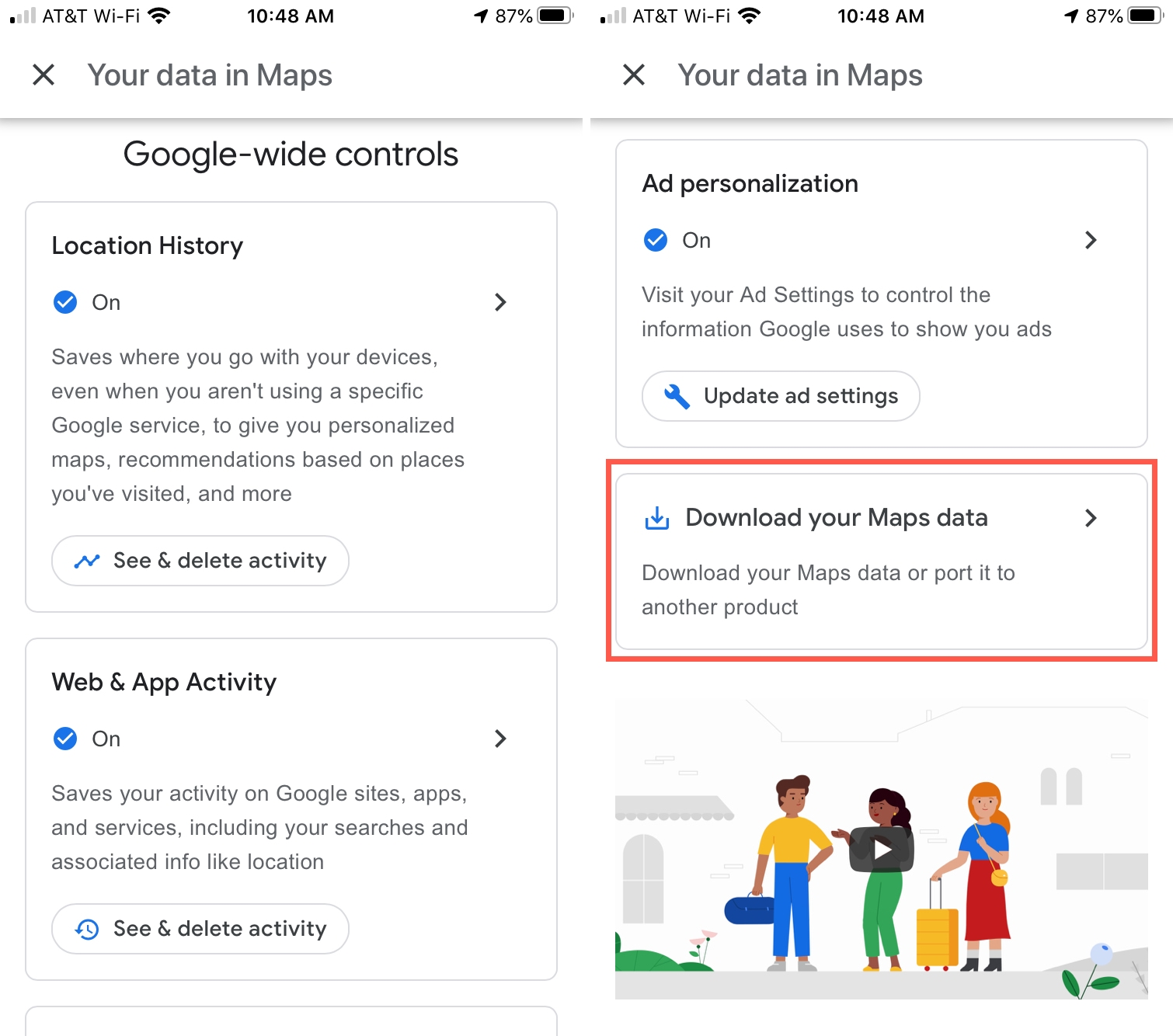 Download your Maps data iPhone