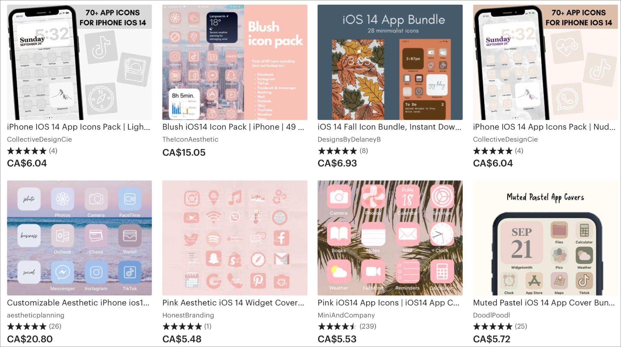 Etsy iOS 14 icons