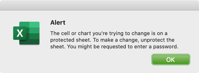 Excel Mac Protected Sheet Alert
