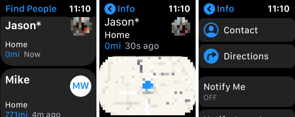 Find People Apple Watch Contact Options