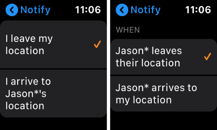 Find People Notify Apple Watch