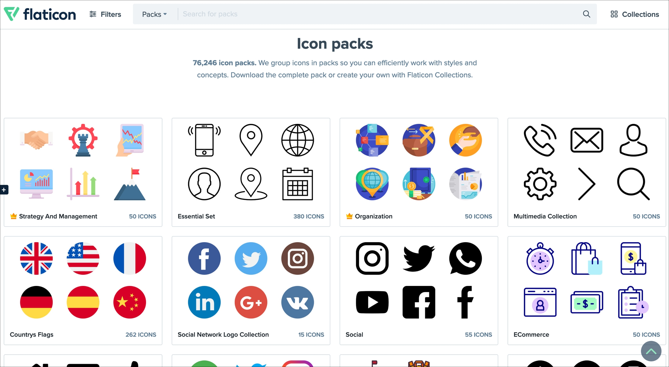 Flaticon website icon packs