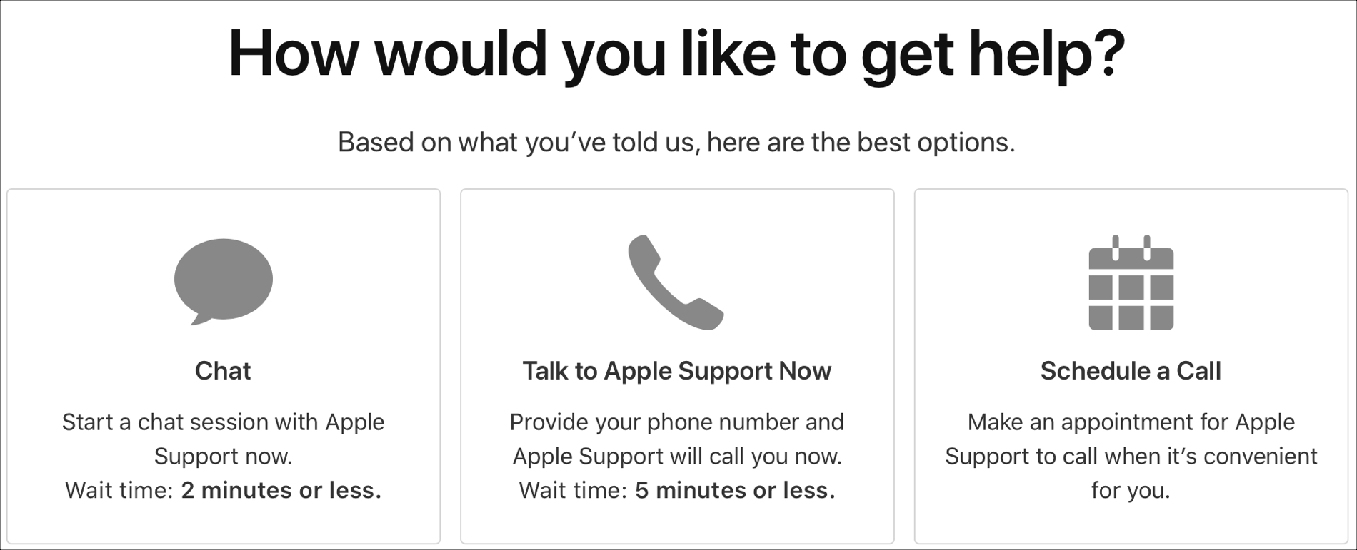 Get Help Apple Support Options