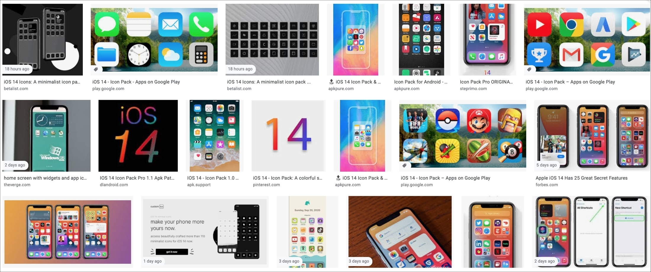 Google Images iOS 14 icon packs and ideas