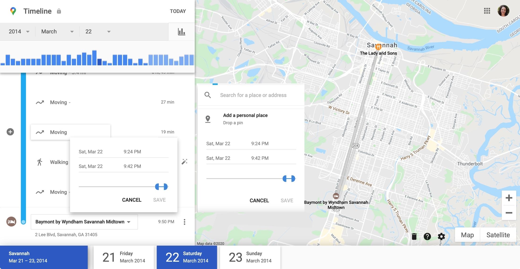 Google Maps Timeline Edit Moving Online