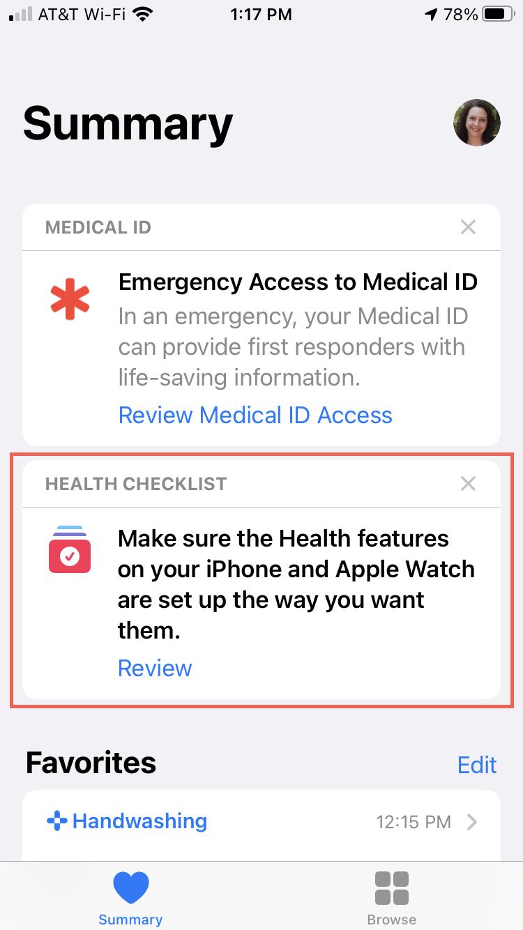 Health Checklist in Health Summary on iPhone