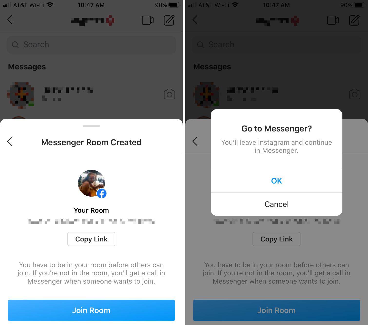 Instagram Join Messenger Room