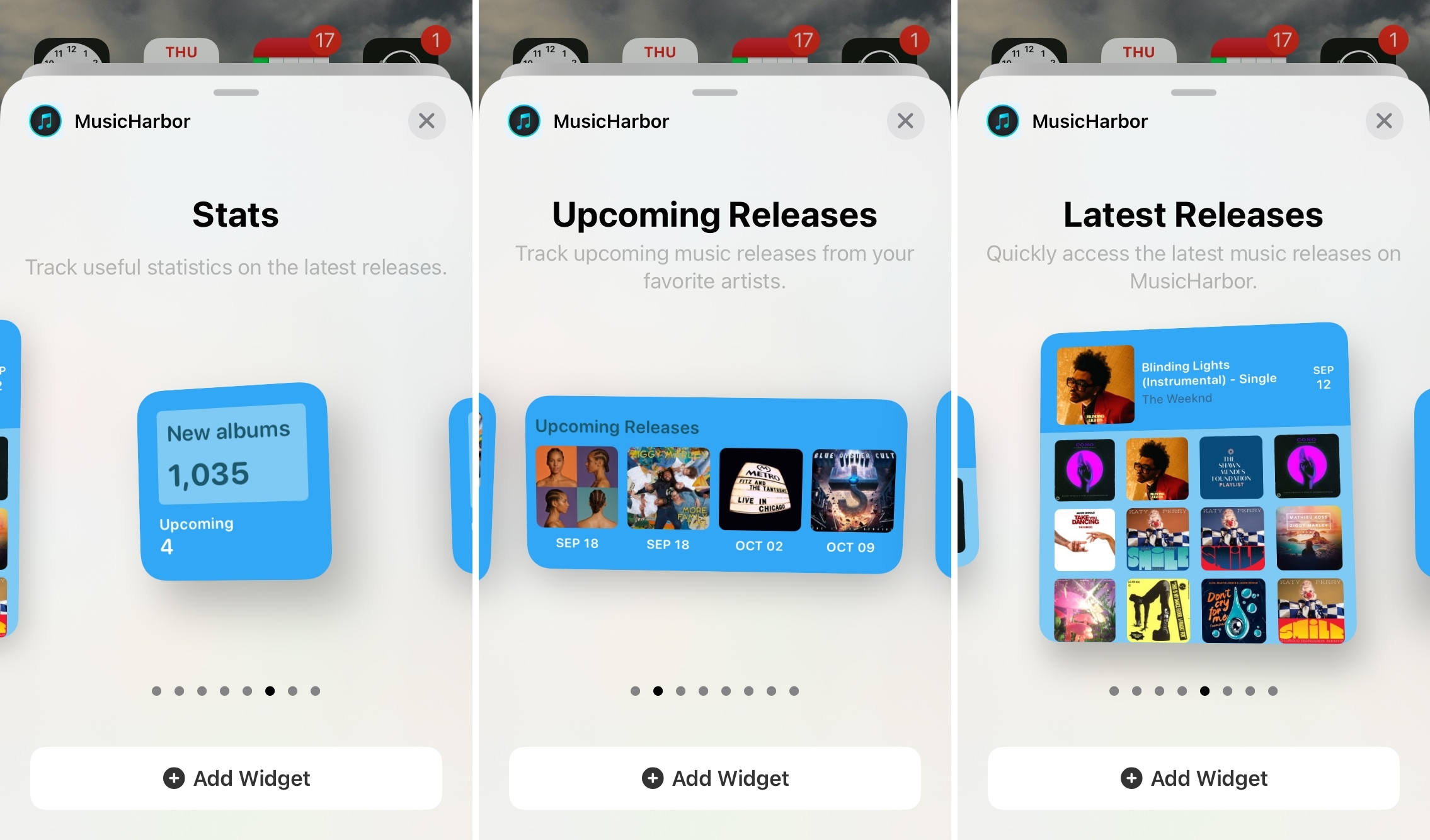 MusicHarbor Home Screen Widgets iPhone