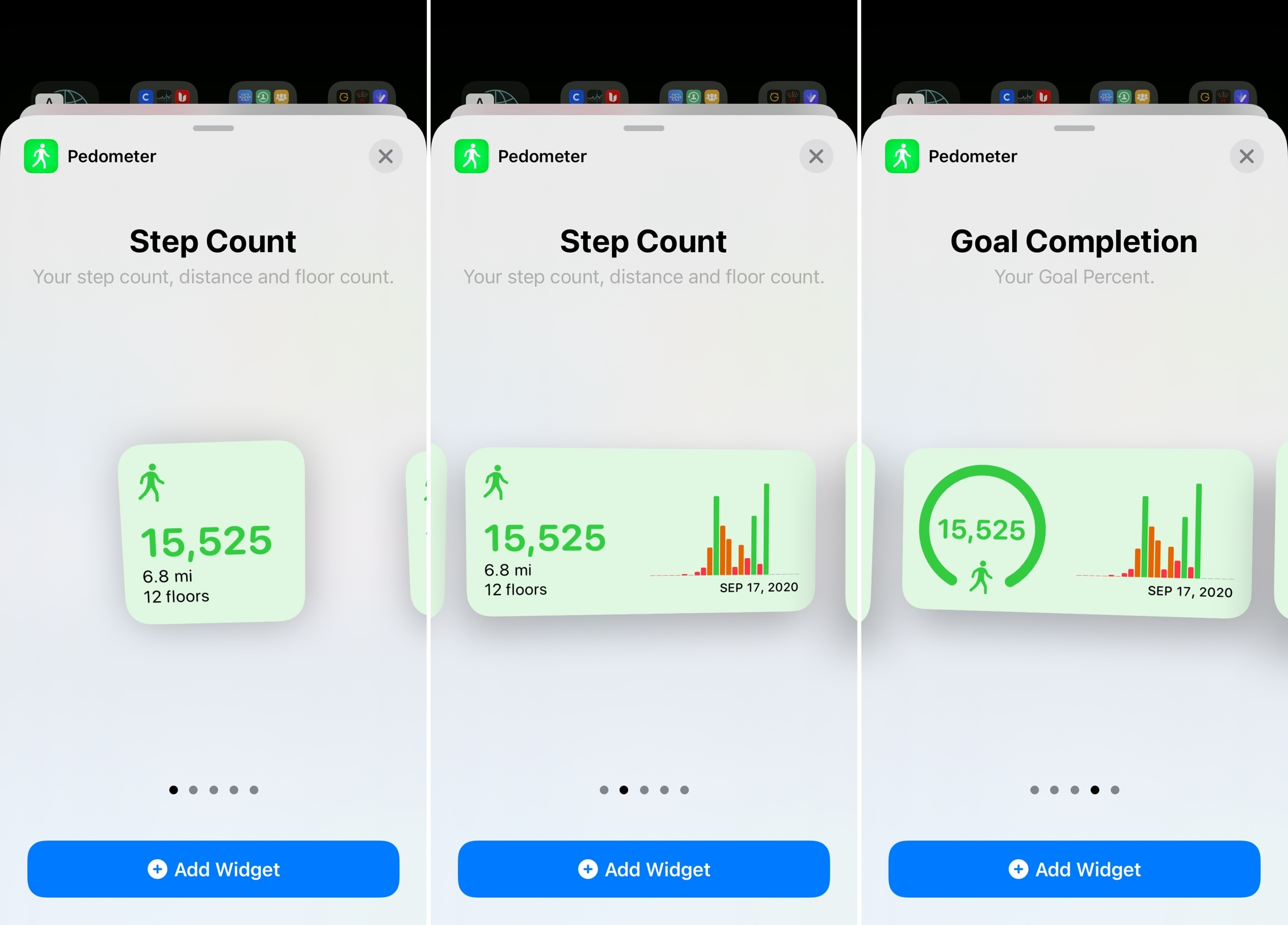 Pedometer Home Screen Widgets for iPhone