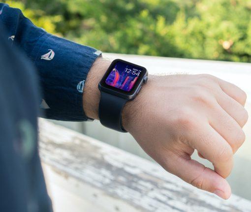 Purple neon Apple Watch face