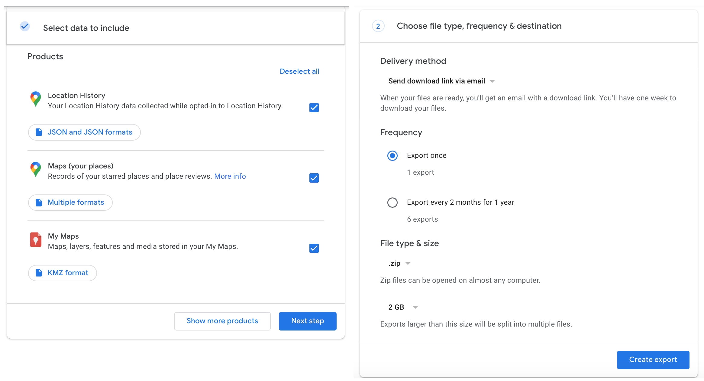 Select data delivery frequency type Google Maps online