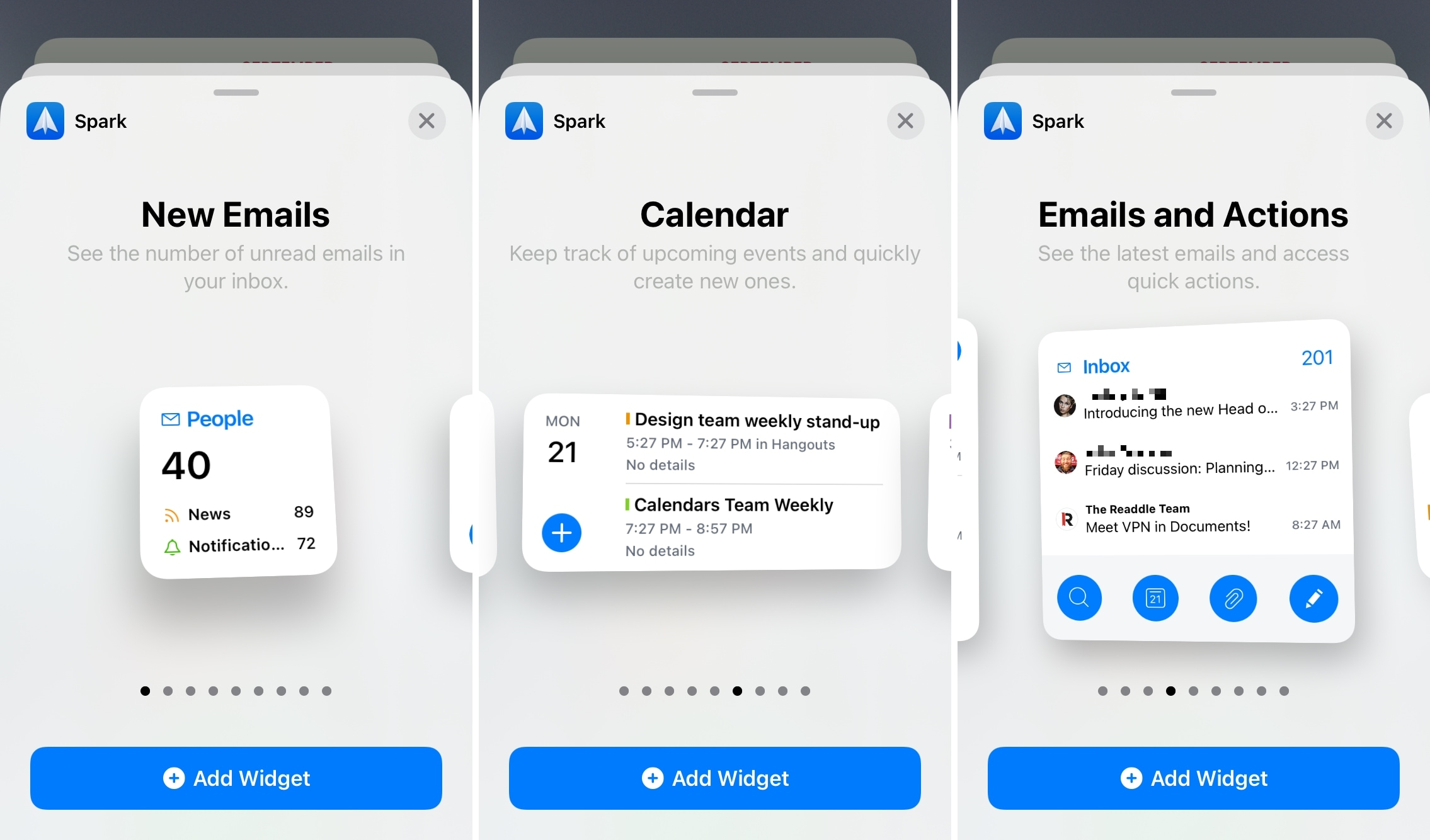 Spark Mail Home Screen Widgets for iPhone