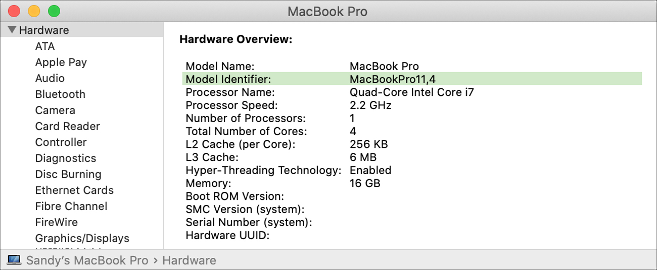 System Report Model Identifier on MacBook Pro