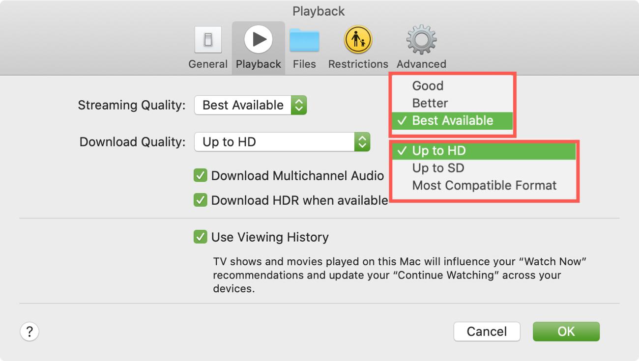 TV App Mac Preferences Quality