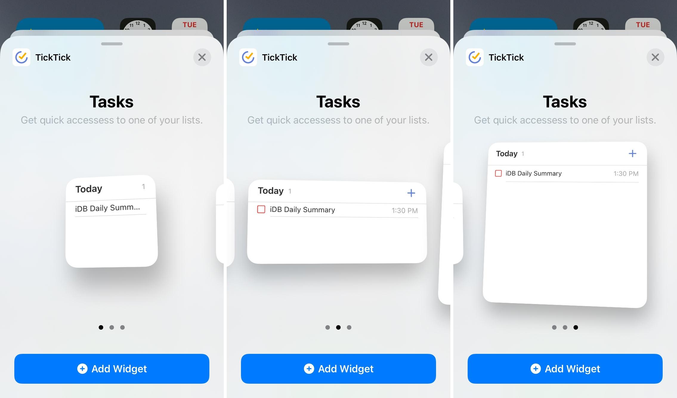 TickTick Home Screen Widgets for iPhone