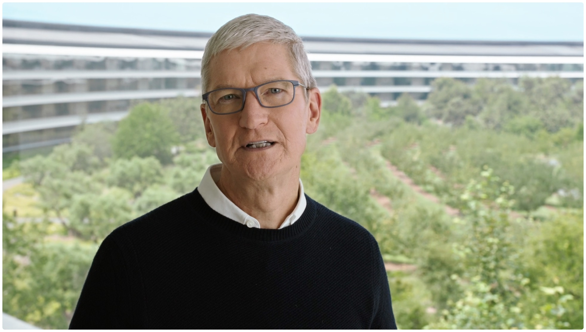 An image showing Tim Cook in the Apple Park headquarters to illustrate the article about last-minute WWDC21 leaks