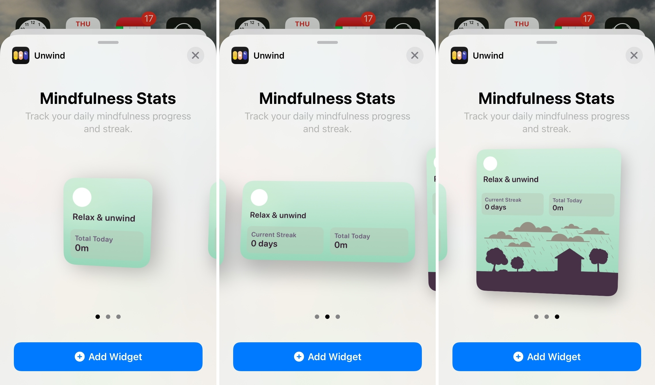 Unwind Home Screen Widgets for iPhone