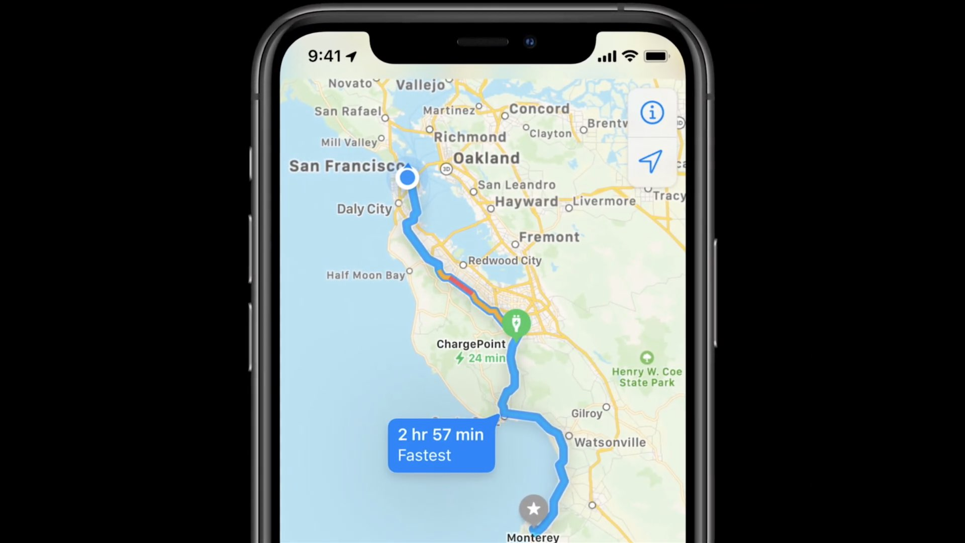 Apple Maps electric vehicle routing - a close-up view of EV routing on the iPhone