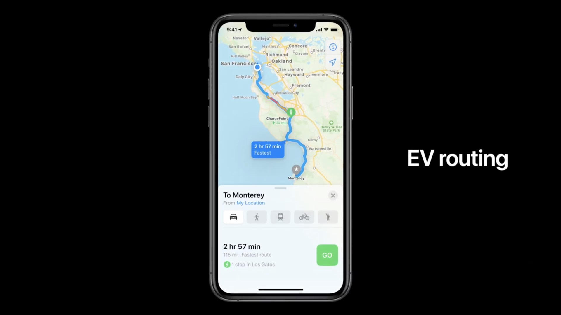 Apple Maps electric vehicle routing - a WWDC 2020 slide showing EV routing running on an iPhone