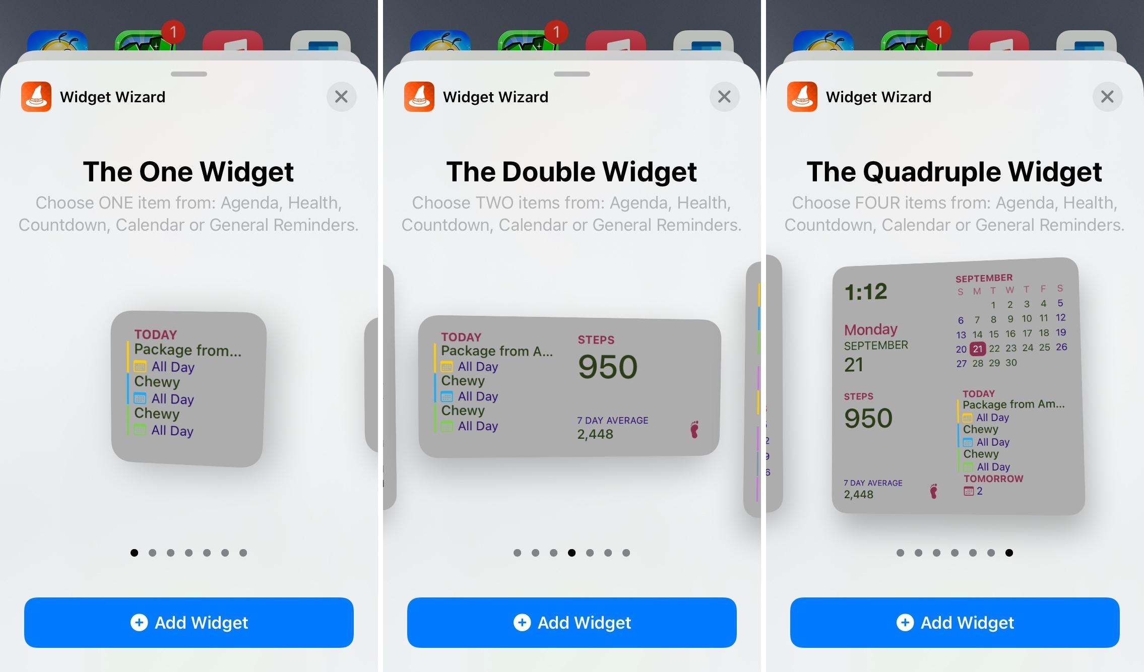 Widget Wizard Available Widgets