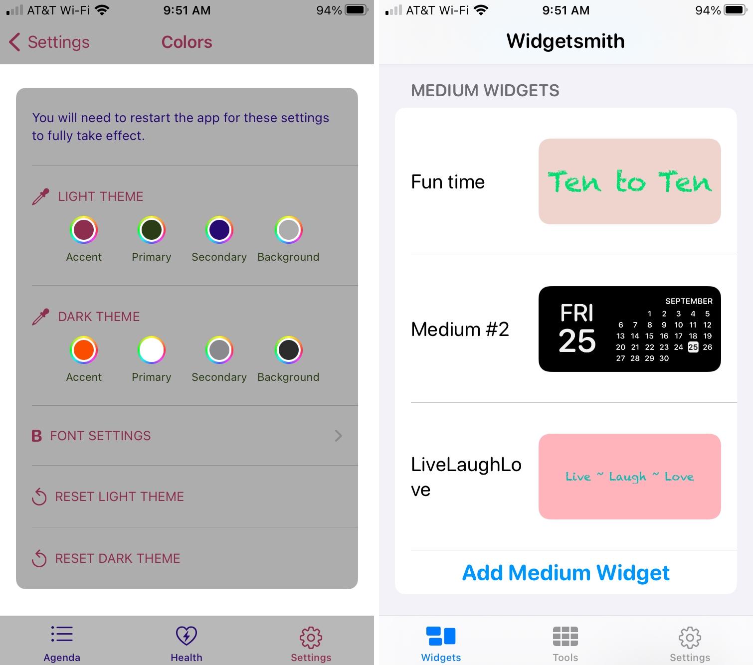 Widget Wizard and Widgetsmith on iPhone