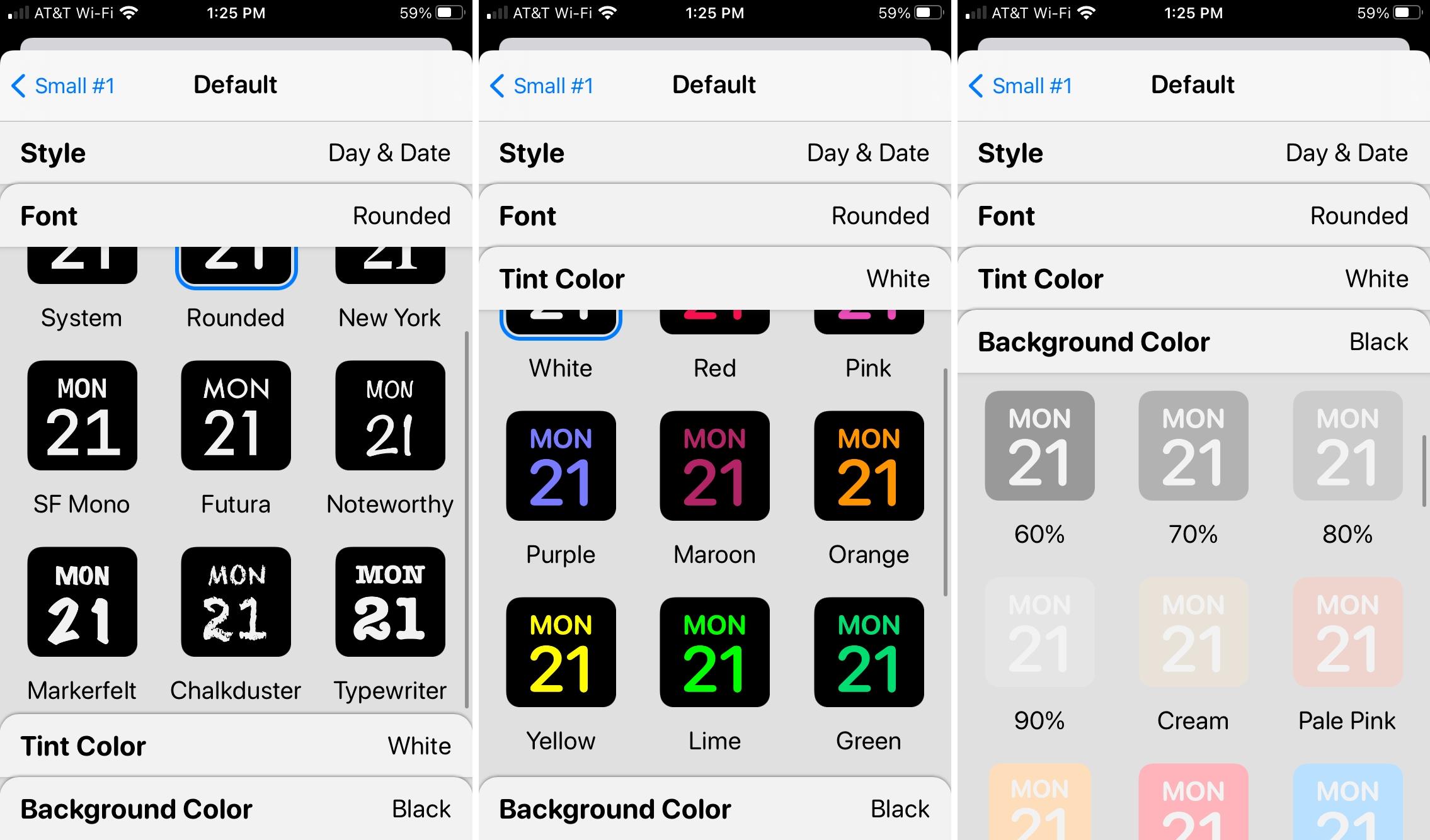Widgetsmith Colors and Fonts